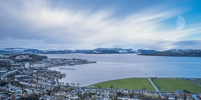 From Lyle Hill Gourock to the Bay and Beyond with Snow on the Gareloch Hills Scotland.