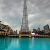 Rainy day in Dubai with Burj Khalifa in clouds