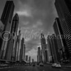 B&W version of Sheikh Zayed Road.