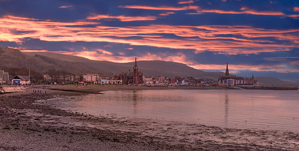 Largs on the West Coast of Scotland at Sunset.