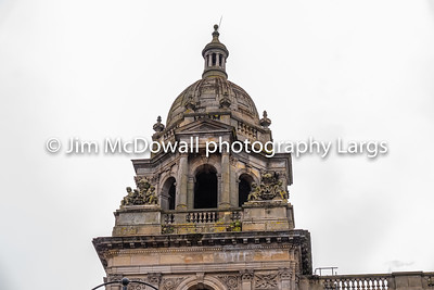 Impressive Architecture looking up to one of the Glasgow City Chambers Stone Steeples.