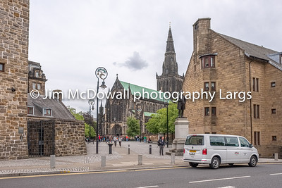 Impressive Ancient Glasgow architecture with St Mungo Museum of Religious Life in Castle Street and Glasgow Cathedral.