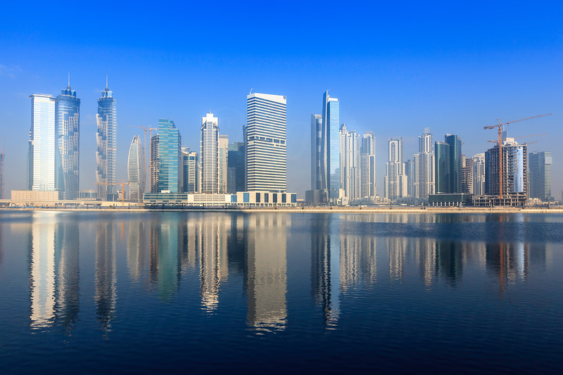 Dubai and business bay in a misty morning.