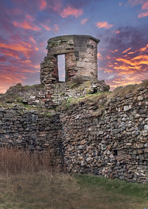 Citadel of Ayr Ancient Ruins at Sunset. Last Remaining Centry Box of the Ruins.