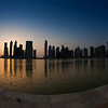 Another beautiful sunset in Dubai, Business Bay. Fisheye version.