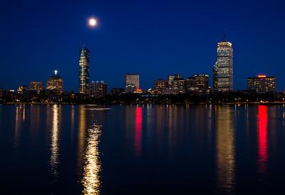 Charles River Boston Moon