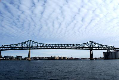 Big sky over a big bridge: The Tobin Bridge in Boston harbor.