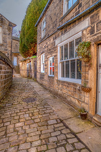 Walkway to St Michael's Church, Haworth, Yorkshire, UK.