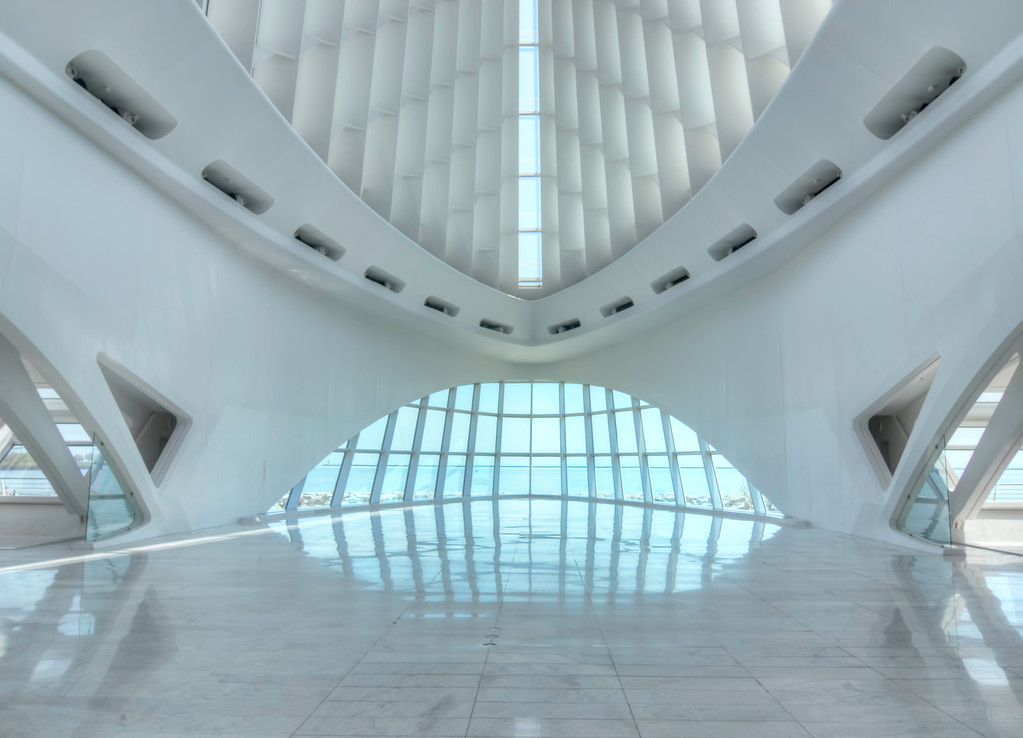 Main lobby of the Milwaukee Art museum with a view out to Lake Michigan.