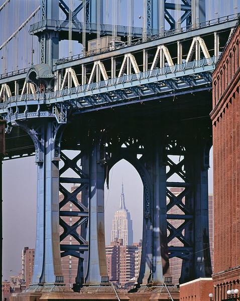 Manhattan Bridge and the Empire State Building.