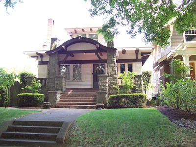 1846 SE Ladd Street - In March, 1910, Thomas H. Stoner had this home constructed by the Charles B. Mower Company.  No architect is listed; however, Stoner had moved from a home (no longer standing) in the Piedmont area where Alfred Faber was the most active architect.  That connection, plus the extensive use of stone in the front porch and the immaginative porch roof detailing, points to Alfred Faber as the architect.