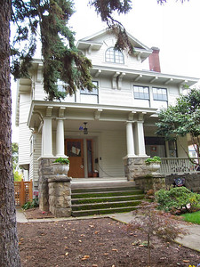 1517 SE Holly Street - Several of this home's neighbors are proven Faber designs, but beyond the distinctive brackets and porch elements, attribution of this home to Faber is not strong.  The original owners, John and Mary C. Wood, had lived on Caruthers Street before moving here, very likely in one of the many Faber-designed bungalows in that area.  They built this home in the summer of 1912.