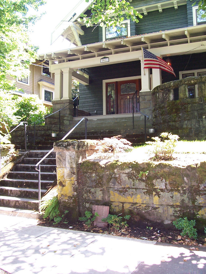 2936 SE Taylor Street - Originally believed to have been a Faber design due to the stone porch, we now know that this house was designed by Phillipe Carlander and built by his construction partner A. Rice and Son Builders.  This house was built for Harvey Scott, Jr., son of one of the founders of The Oregonian, and an important Portland citizen in his own right.