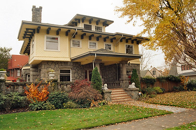 132 NE Ainsworth Street - This Faber house appeared in his booklet The House That Differs.  The second floor exterior surface is original asbestos shingle, the first floor Phoenix stone.  Built in 1909.