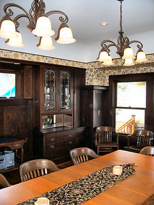 Another detail view of the dining room with the rich Douglas Fir plywood panelling (an exciting, ultra-modern product in 1908, and one featured in nearly all of Faber's high-end home designs).