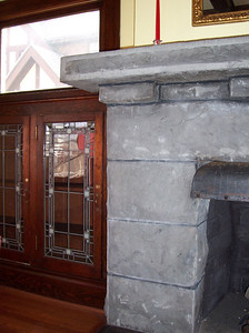 Fireplace and built-in bookcase detail.