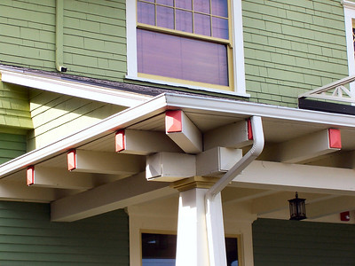 Another Faber characteristic is bold timbers supporting the front porch as shown here in this detail view.
