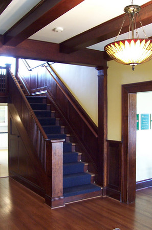In typical Faber style, the staircase is modest and features extensive wood panelling.  All the woodwork is flat-sawn Douglas Fir.