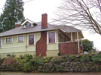 2204 SE 34th Avenue - Early title records show that Alfred Faber bought this lot upon arriving in Portland from Philadelphia in 1904 and immediately built this house.  Given its very modern design for the time and the beautifully executed brick porch ballustrade, we have to assume that he designed this home himself (which would have been expected for an architect, after all).  Within a couple of years, Faber moved on to larger quarters for himself and his family.