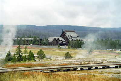 Old Faithful Inn viewed from Geyser Hill, Yellowstone National Park, Wyoming