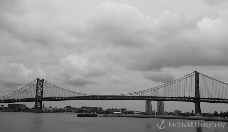 The Benjamin Franklin Bridge from the Camden waterfont, New Jersey
