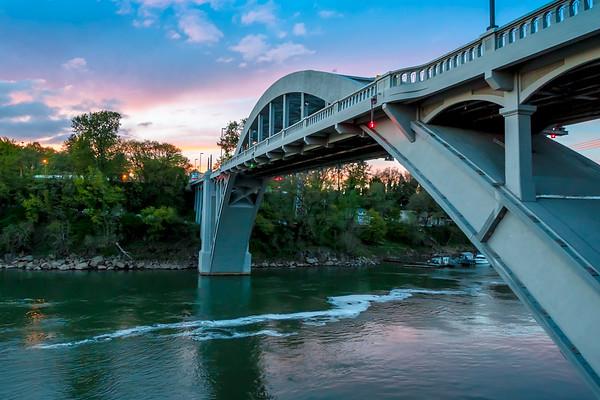 Sunset over Arch Bridge