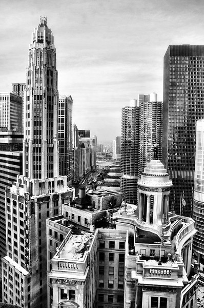 Mather Tower and the London Guarantee Building (Architects: Herbert Hugh Riddle and Alfred S. Alschuler, respectively)