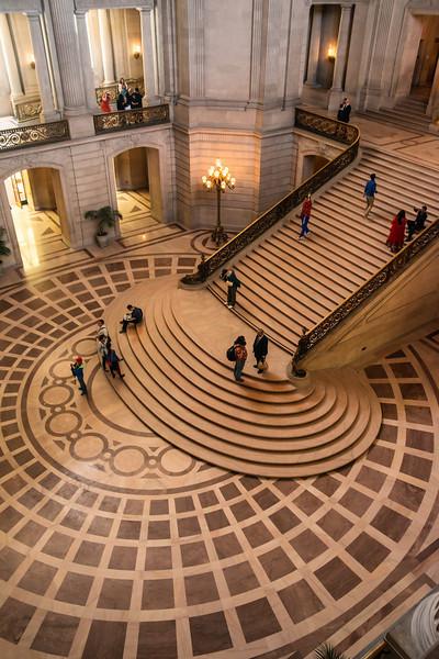 Grand Staircase Detail, San Francisco City Hall (Architect: Arthur Brown, Jr.)