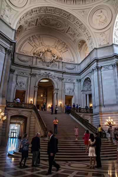 Grand Staircase from Floor Level, San Francisco City Hall Rotunda (Architect: Arthur Brown, Jr.)