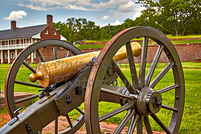 Cannons at Fort Washington with Captains Quarters in Background