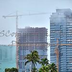 Construction skyline stormy skies Honolulu Hawaii