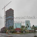 honolulu skyline stormy skies rainy streets