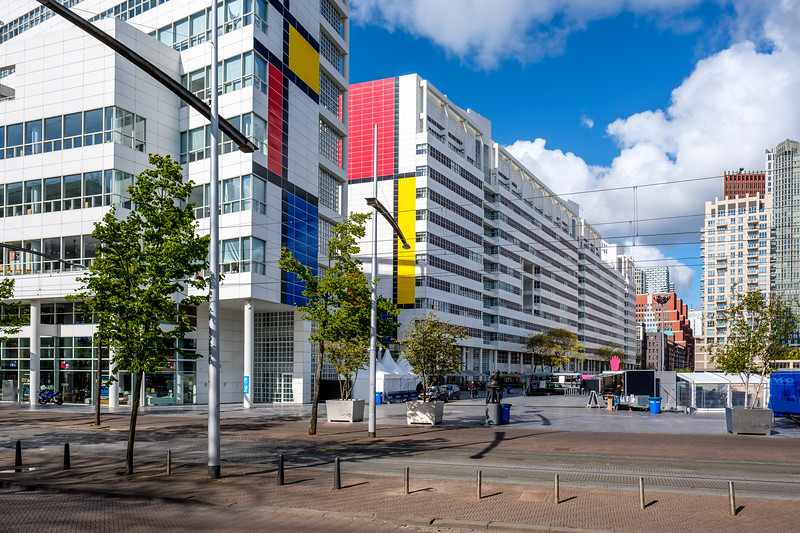 The Hague City Hall & Central Library decorated to celebrate Mondrian