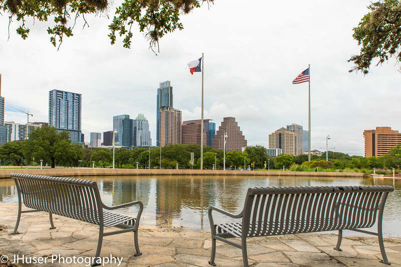 A seat with a view of the Downtown skyline of Austin Texas