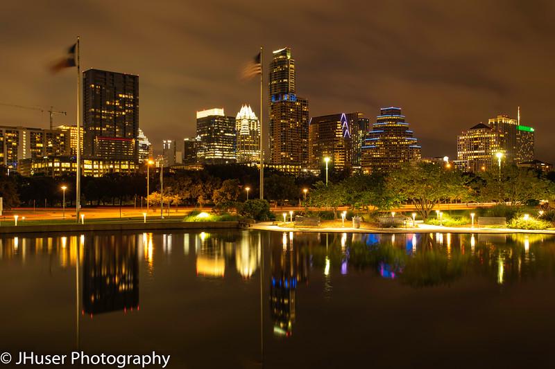 Austin Texas cityscape at night