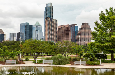 Downtown Austin Texas on a cloudy summer day