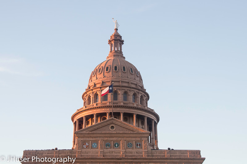 Closeup of Texas State Capitol dome in morning light