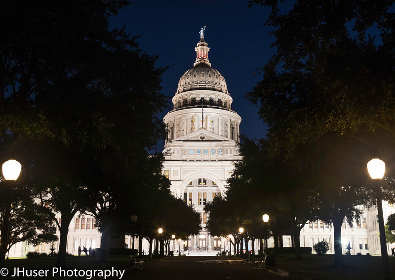 Texas Capitol building at night