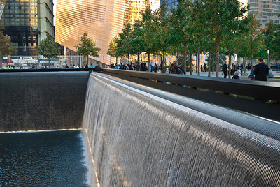 NEW YORK - OCTOBER 6: A view of the footprint waterfalls at the 9/11 Memorial on October 6, 2011.