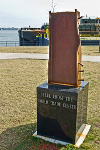 BAYONNE, NJ - MARCH 9: Actual Steel from the Word Trade Center on display in Bayonne, NJ on March 9,2012. The Teardrop Memorial Park is located across the river from Ground Zero and lower Manhattan.