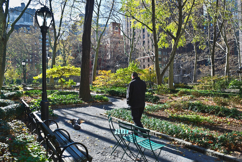 """Tudor City Greens""<br /> A man takes a walk in the park on the East Side of Manhattan."