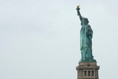 The Statue of Liberty in the New York Harbor.