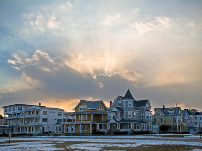 """""""Ocean Grove View""""  A dramatic sky and Victorian style home in Ocean Grove as seen on this Winter day."""