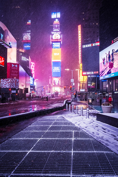 Snow In Times Square