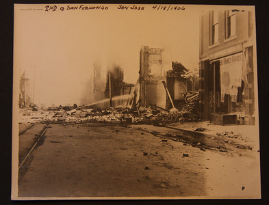 2nd and San Fernando streets  San Jose 4/18/1906 after the earthquake