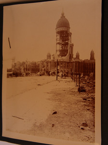 "San Francisco City Hall 4/18/1906 after the earthquake and fire written on the back ""City Hall from 8th st"""