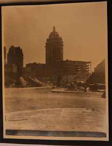 """San Francisco Call Building 4/18/1906 after the earthquake and fire Taken looking down O""""Farrell St toward 3rd & Market"""