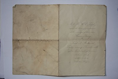 Wedding invitation from 1887.  I wonder if they are still married?