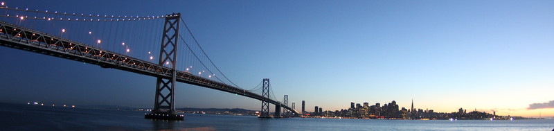 San Francisco and the SF bay Bridge sunset seen from Yerba Buena Island