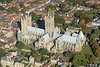 Lincoln Cathedral, Lincolnshire, built 1185-1311, seen from above on a glorious autumn day.